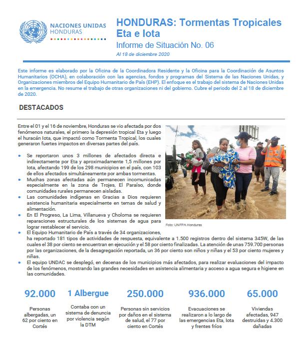 Informe de Situación No.6: Honduras Tormentas Tropicales Eta e Iota