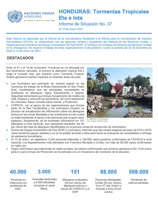 Informe de Situación No.7: Honduras Tormentas Tropicales Eta e Iota