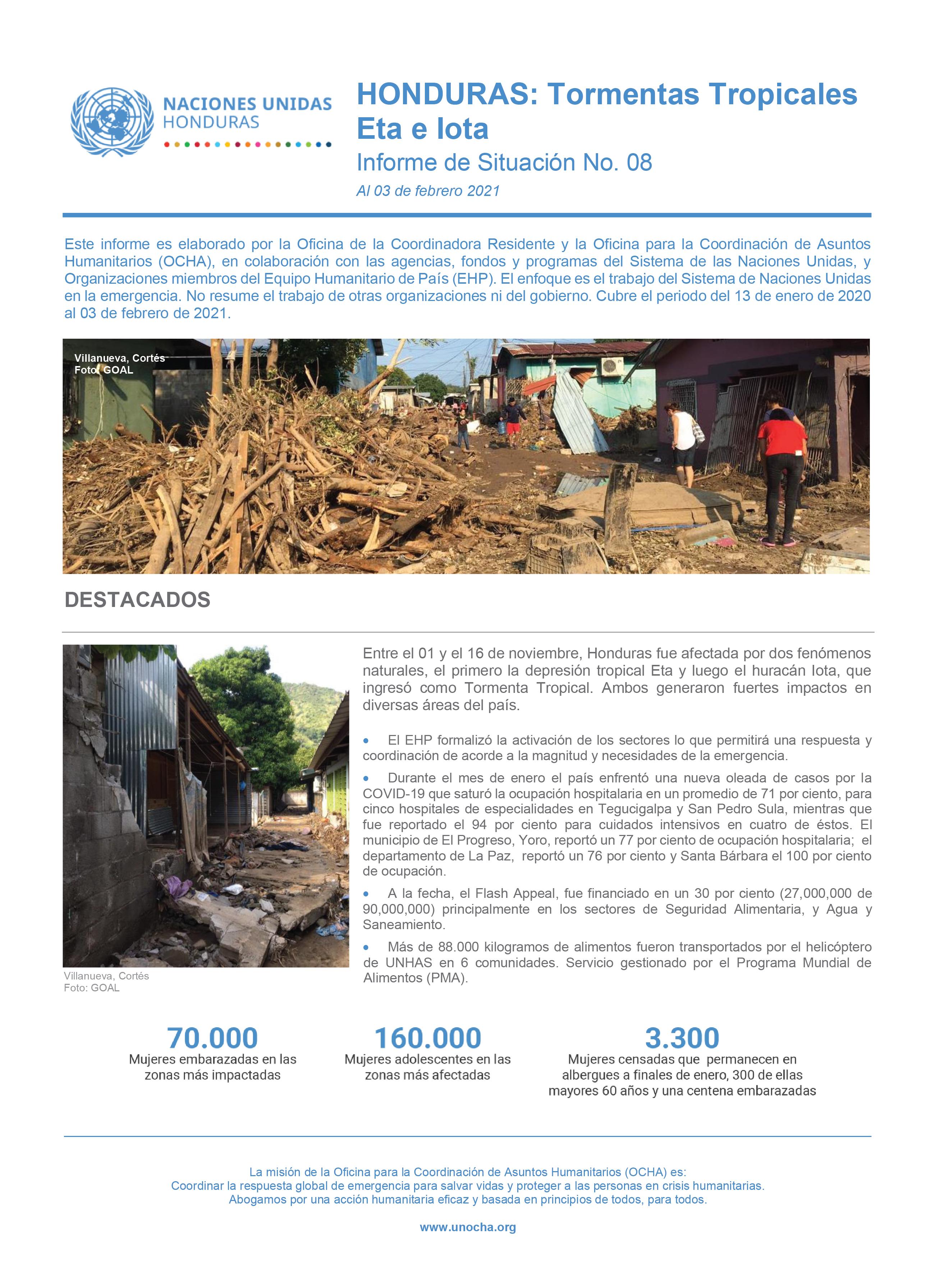 Informe de Situación No.8: Honduras Tormentas Tropicales Eta e Iota