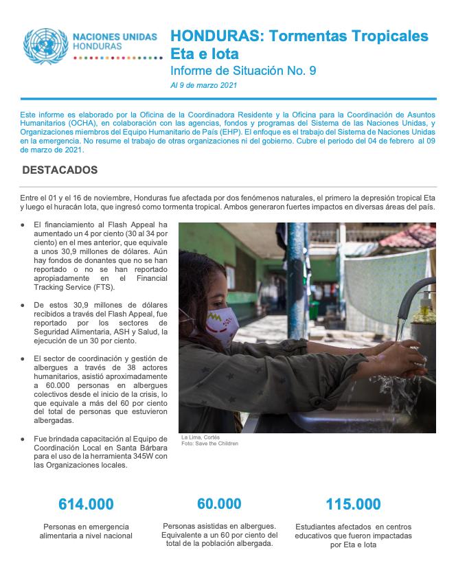 Informe de Situación No.9: Honduras Tormentas Tropicales Eta e Iota