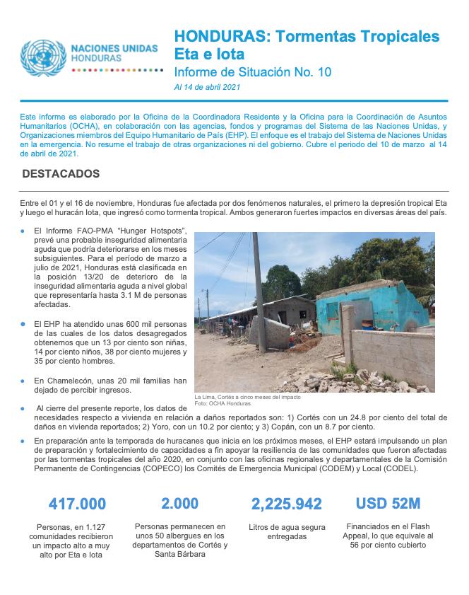 Informe de Situación No.10: Honduras Tormentas Tropicales Eta e Iota